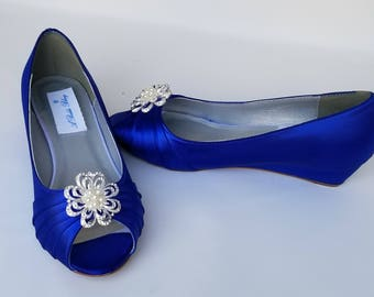 Blue Wedding Shoes with Pearl and Crystal Flower Design Blue Bridal Shoes Blue Wedges Blue Bridesmaid Shoes  PICK YOUR COLOR  100 Choices
