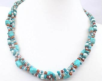 Multistrand Beaded Necklace Glass Pearl Wood Metal Turquoise Blue Green Amber Topaz Brown Silver Teal Statement Jewelry 20-1/2 to 25-1/2in