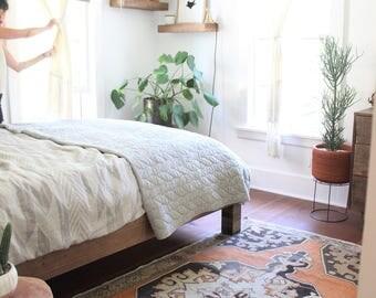 vintage Turkish rug, rustic earthy geometric rug, happy worn bohemian persimmon and brown rug