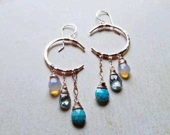 Ethiopian Opal Drop Earrings, Crescent Moon Chandelier, Turquoise Moon Earrings, Crescent Moon Dangle Earrings