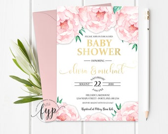 Couples Shower Invitation - Coed Baby Shower Invitation - Couples Baby Shower Invite - Shabby Chic Baby Shower - Baby Girl - Baby Boy
