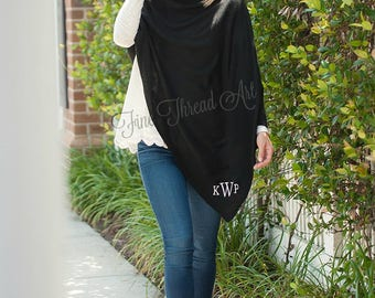 Black Ladies Poncho Cape with Embroidered Monogram Personalized