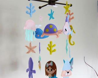 "Custom ""Mermaid and coral"" Theme Baby Crib Mobile, Mermaid Baby Nursery Mobile, sea turtle Mobile, squid and coral felt Baby Mobile"