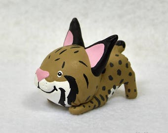Hand Sculpted Bobcat Derp Figurine