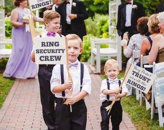 """Ring Security Crew Set 3 Wedding Signs """"Ring Security Crew"""" + """"Has Anyone Seen The Rings?"""" + """"They Didn't Trust Us With The Rings!"""" 1289 SRW"""