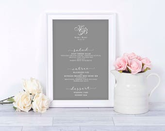 Wedding Menu Print Your Own | Digital Menu | Printable Wedding Menu | Digital Wedding Menu | Wedding Menus