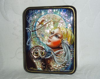 "Russian Lacquer box Fedoskino Mother of pearl ""Moonlight Serenade"" Hand Painted"