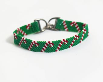 Holiday Bracelet - Christmas Bracelet - Candy Cane Bracelet - Beaded Bracelet - Bead Woven Bracelet - Gifts for Her - Holiday Gifts