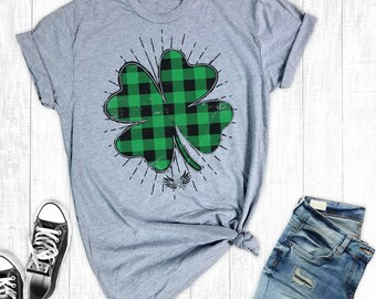 St Patricks Day Shamrock Shirt, St Paddys Day Plaid Shirts, Lucky TShirt, St Patrick's Day