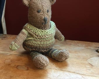 """handmade Teddy, 10"""" knitted toy, hand knit"""
