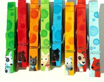 8 DOG CLOTHESPINS painted magnets blue orange green spotted