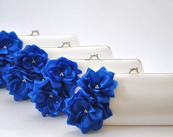 Set of 7- Medium Bridesmaid clutches / Wedding clutches - Custom Color
