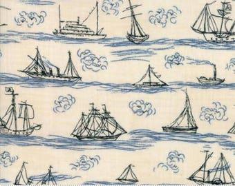 Ahoy Me Hearties Moda Fabric, Pearl Ocean, Coastal Home Decor, Nautical Nursery, Nature Inspired, Beach Decor, Nautical Decor, Sailboats