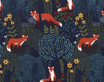 INTO THE WOODS in Nite, Woodland Fabric, Fox Fabric, Michael Miller Fabrics, Woodland Baby Quilt, Quilt Fabric, Quilting, Fabric By the Yard