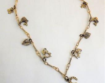 Good Luck Necklace, Long vintage Charm Necklace, Four Leaf Clover Necklace, Horseshoe Necklace, Elephant Charm Necklace, Gold Fish Necklace