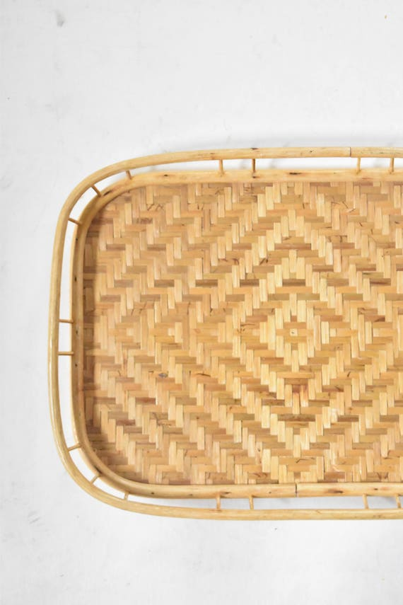 vintage bamboo rattan tiki serving tray with diamond pattern / tropical beach house decor