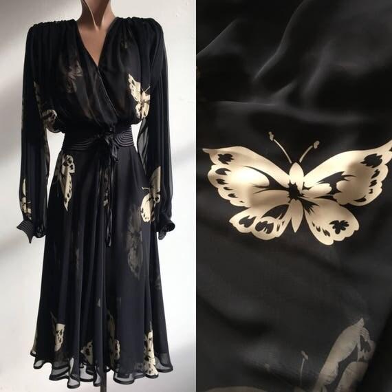 1980s Butterfly Print Choffon Dress