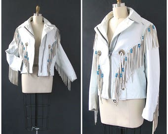 ROCKER  BIKER BABE Vintage 90s Jacket | 1990s White Fringe Jacket by Excelled | Conchos and Turquoise Beads | Western Festival | Size Large