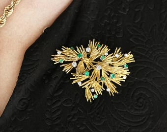 2.05tcw 18K Colombian Emerald & Diamond Gold Branch Brooch, Emerald Brooch, Diamond Brooch, Emerald and Diamond Gold Brooch, Emerald Jewelry