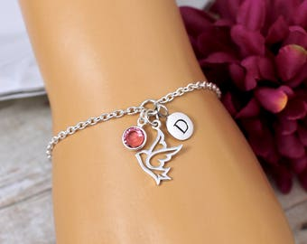 Personalized Dove Bracelet, Sterling Silver, Charm Bracelet, Dove Jewelry, Gift for Godmother, Confirmation Gift, Religious Bracelets