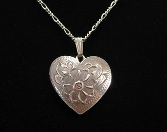 Vintage Sterling Heart Pendant, Lotus Flower, 16 Inch Chain, 1940s Jewelry, Sterling Silver, Estate Jewelry