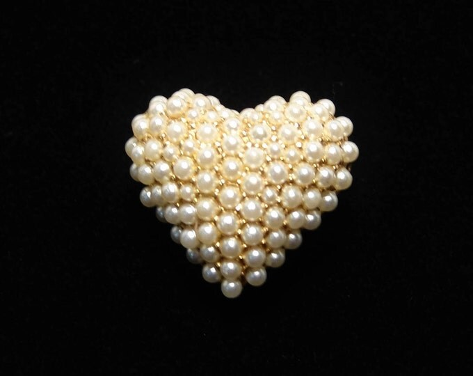 Vintage Pave Pearl Heart Pin