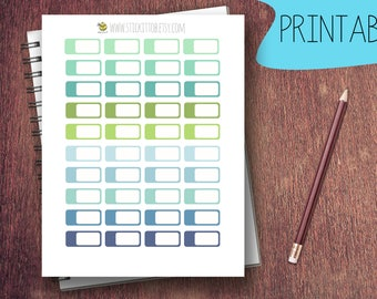 PRINTABLE Labels Green and Blue Planner Stickers