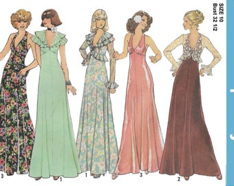 Simplicity 7229 Misses Evening Length Halter Dress and Unlined Jacket Sewing Pattern Size 10 Bust 32 1/2