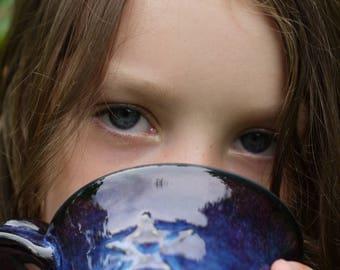 pottery mug blue, ceramic mug blue, wheel thrown pottery mug, christmas gifts, galaxy mug, coffee mug rustic, starry night mug, van gogh mug
