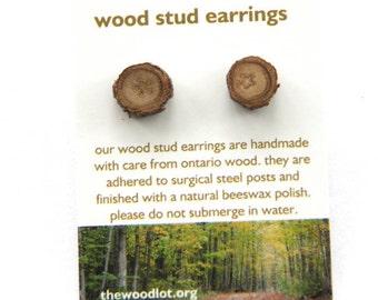 oak - One Pair of little stud earrings