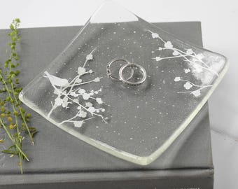 Glass bird in blossom jewellery dish, small bowl, ring dish, trinket dish, mothers day gift, birthday gift, gifts for her, bird gifts