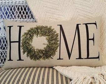 HOME pillow, Boxwood wreath, Magnolia theme, Farmhouse decor, Farmhouse pillow