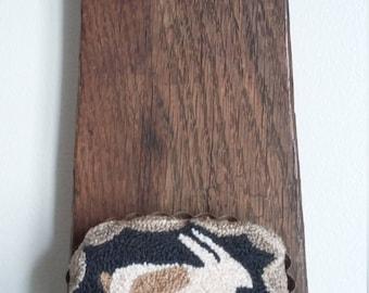 "primitive needle punch WHITE BUNNY 3 1/2"" oval tart tin pin cushion"