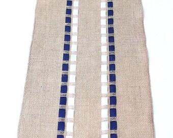 Christmas Burlap Table Runner With Navy Blue U0026 White Ribbons   Hanukah Table  Decoration   Nautical