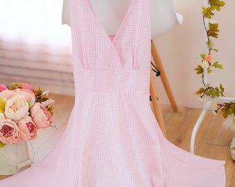 Small size SALE Pink dress pink plaid dress pink sundress spring summer dresses Pink bridesmaid dress vintage inspired dress