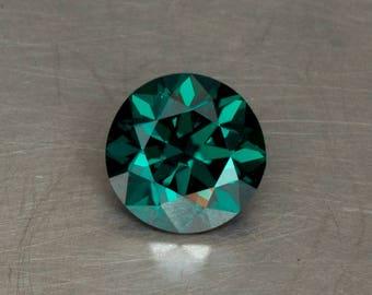 Dark Green Moissanite Loose Lab Created Conflict Free Precision Cut Round Brilliant Faceted Gemstone