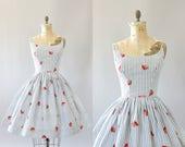 Vintage 50s Dress/ 1950s Cotton Dress/ Black and White Striped Cotton Dress w/ Strawberry Print L