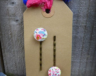 Fabric button bobby pins set of two - Liberty of London fabric