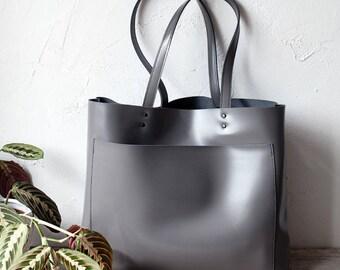 Xmas SALE Large Grey Leather Tote bag No. LPB-10412