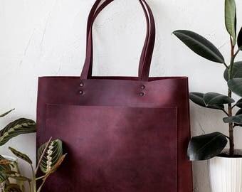 Xmas SALE Large Burgundy Distressed Leather Tote bag No. LPB-10882