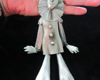 Large Articulated Clown Necklace Pendant Polcini???-Silver Tone VINTAGE Very Good Condition