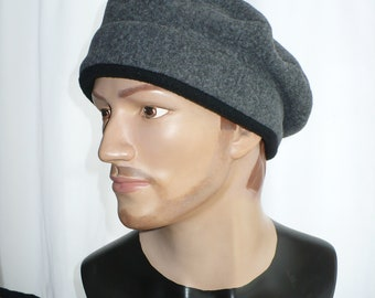 Gray Heather Polar Fleece Beret, Fleece Beret