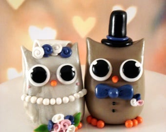 Owl Wedding Cake Topper Bride and Groom Owl Cake Toppers
