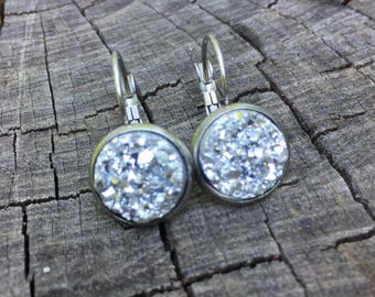 Silver Druzy Leverbacks . Earrings