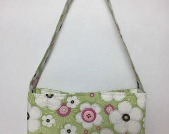 Little Girl's Flowers & Buttons Fabric Purse (green, white, pink)
