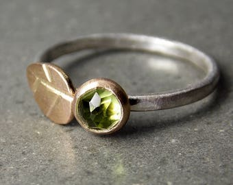 Tiny Leaf Gemstone Ring - Rose Cut Peridot, 14K Yellow Gold, 14K Recycled Yellow Gold & Sterling Silver Ring, Made to Order