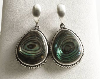 Beautiful Vintage Mother of Pearl Earrings, Teardrop Paua Shell Earrings, Sterling Silver Dangle Earrings, Green Blue Mermaid Colors (V6862)