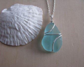 Pretty Teal Sea Glass Jewelry Aqua Blue Sea Glass Pendant Silver Beach Glass Necklace Natural Beachglass Jewelry Beach Jewelry Mermaid