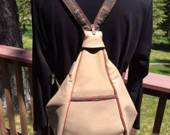 Leather Backpack/Handbag trimmed in Pendleton Wool