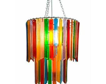 Rainbow Rhapsody – Double Tier Chandelier - Glass Chandelier - Colourful Chandelier - Glass Lighting - Pendant Light - Light Fixture - Decor